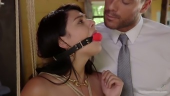 Cute Brazilian black head Gina Valentina is tied up and mouthfucked really hard