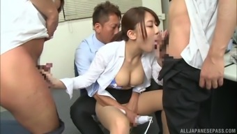 Hot office gangbang with Kashii Ria ends with a creampie