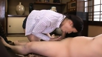 Mature lesbian gets her slit and large tits pleasured