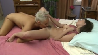 Experienced milf shows the advantages of lesbian sex to one young brunette Shyla Jennings