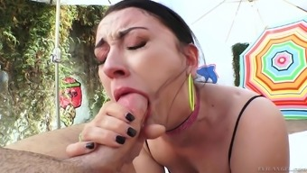 Hottie along with a great ass Mandy Think receiving a hard on in her your mouth