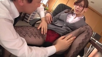 Kaho Kasumi getting her co-worker in the office to have nailed