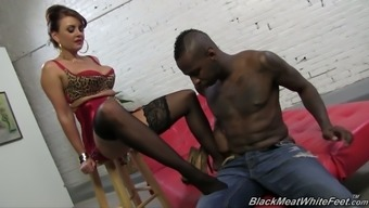 Big tits blond MILF in sexy red colored overnight outfit Janet Mason rubs BBC and have your