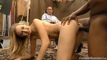 Slutty wife Alexa Style gets blacked and has her cuckold Guy watch