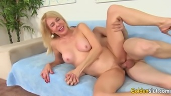 horny granny erica lauren sucks throughout the lift and after that takes up the process her twat