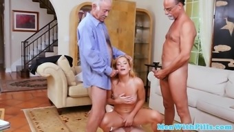 Fourway young adult pussyfucked by grandpas