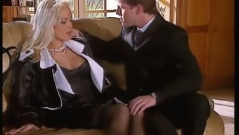 Sextractive blonde mistress Silvia St. fucks a lawyer among the lounge