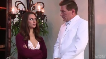 Casey Calvert wears stockings while being entered