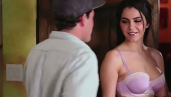Big tits Italian language masseuse Valentina Nappi gets her pink pussy fucked in assist stance