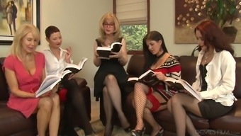 Skilled lesbian Nina Hartley arranges dirty orgy at home