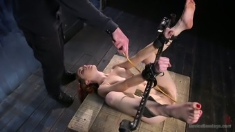 Twisted during the wooden bar submissive blonde Amarna Miller gets masturbated hard