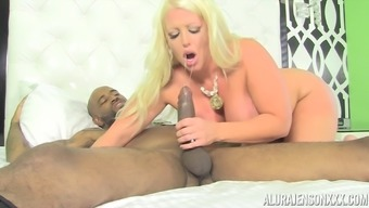 Curvaceous blonde Alura Jenson banged by a black gentleman