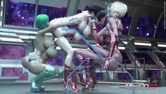 3d Animated Futanari Babes Having Threesome Sex In A Space Station