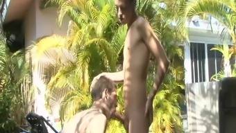 These hot two guys fuck like crazy on the ground outside