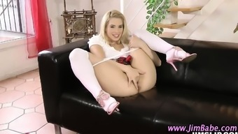 Schoolgirl teen in stockings licked