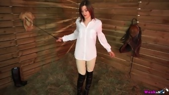 Country chick April O shows her pussy and hard perky nipples