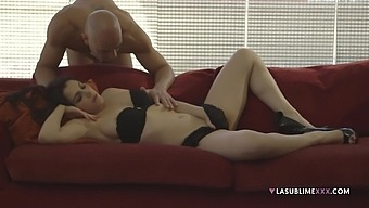 Brunette darling Valentina Nappi fucked by her lover on the sofa