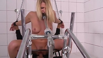 Punishment and pain for submissive Lucy Heart during wild bondage fuck
