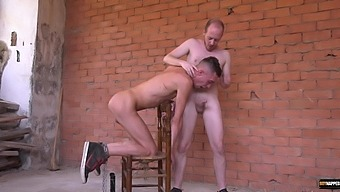 Gay dude strokes his cock while riding his best friend. HD