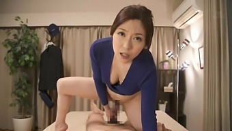 Curvy Japanese chick Shiraki Yuuko enjoys riding a dick in cowgirl