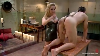 man gets gagged and fucked in ass by moaner by using strapon
