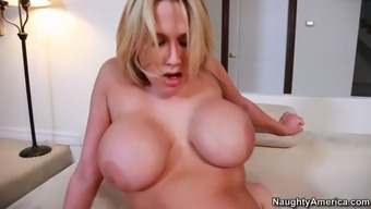 vast boobed date alanah rae beating herself down upon his bad fats prick