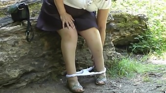 upskirt bum in the wood piece two different.mp4