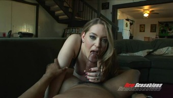 Plump blonde gorgeous jerks off an important dark colored lift and stinks it