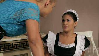 Hearty pale girl Brandy Smile punishes the stealing housemaid Connie