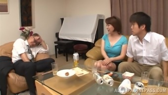 Oriental milf is fucked stupid through a a naughty stud poker