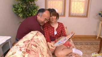 Japanese cardigan cutie plus a naughty old man hook up