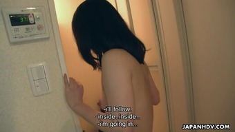 Outstandingly lovely teen fucks and impact her mankind in the bath room