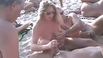 Just a sweet nudist shore mixture of naughty couples