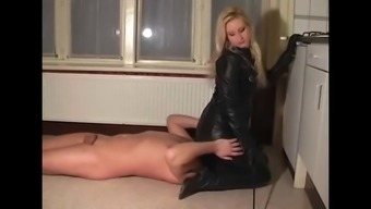 A leather covered tub chair Girlfriend and Her asslicking person who serves
