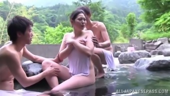 Moist Japanese MILF Gets Cracked Hard Within a Threesome