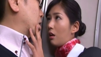 Very succulent Japanese people stewardess gets missing intense despite the fact that on board
