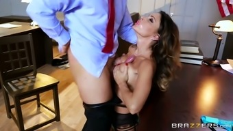 Bosomy dark colored top MILF in sexy stockings you like hungry chief by using stout serious nose