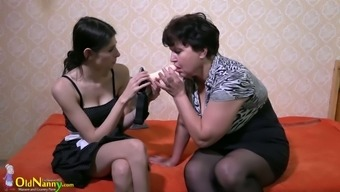 Senior fatso along with big titties exhibits brunette how or when to use strapon