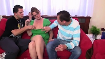 Boozed busty mommy sucking and riding at same time