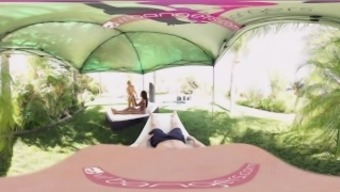 VR Bangers - [360°VR] Alix and Nadia blow and cycle white colored junk through swimming pool