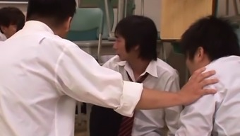 Oriental hotty gets down and gives teacher a steamy oral sex