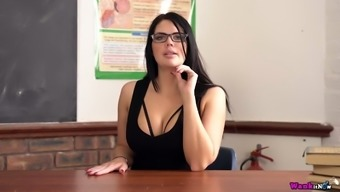 Torrid nerdy busty lady Kylie K desires to play with a dildo at work