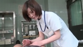 Subtitled CFNM Japanese girl physician gives individual handjob